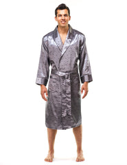 Men's Premium Satin Robe - Boats Charcoal
