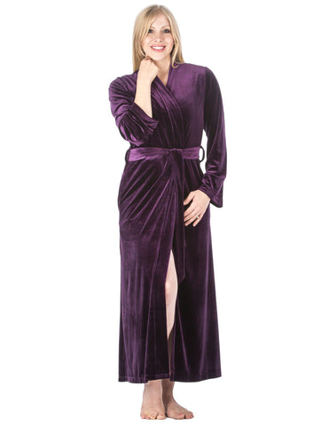 Women's Royal Velvet Robe - Purple