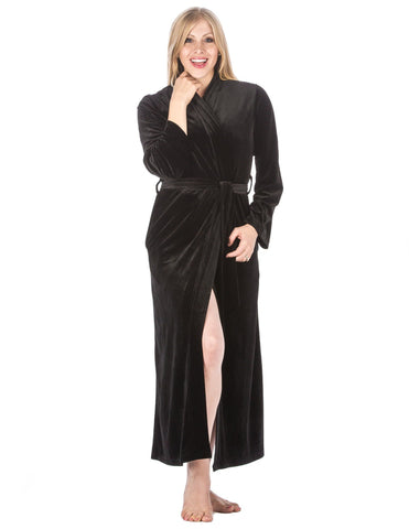 Women's Royal Velvet Robe - Black