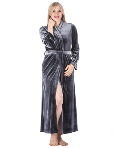 Women's Royal Velvet Robe - Dark Grey