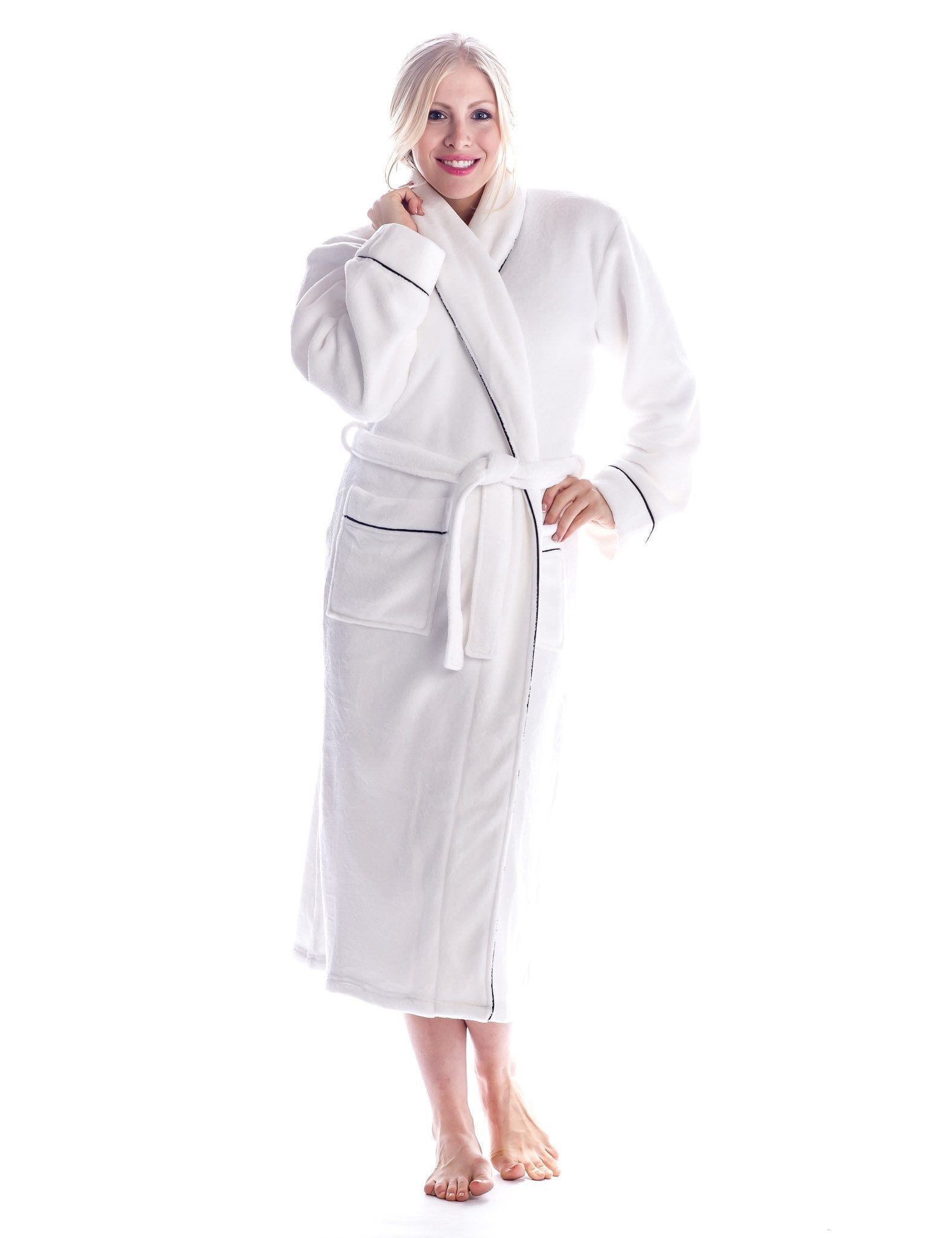 Women's Premium Coral Fleece Plush Spa/Bath Robe - Pure White