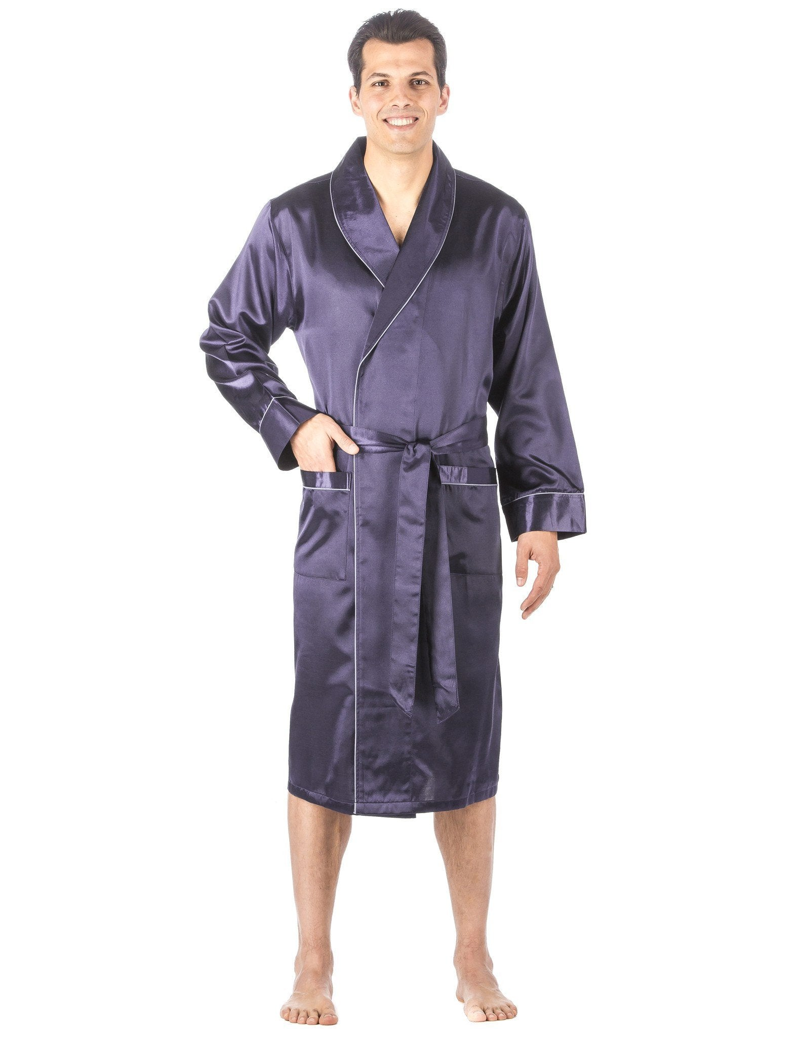Men's Premium Satin Robe - Solid Dark Blue