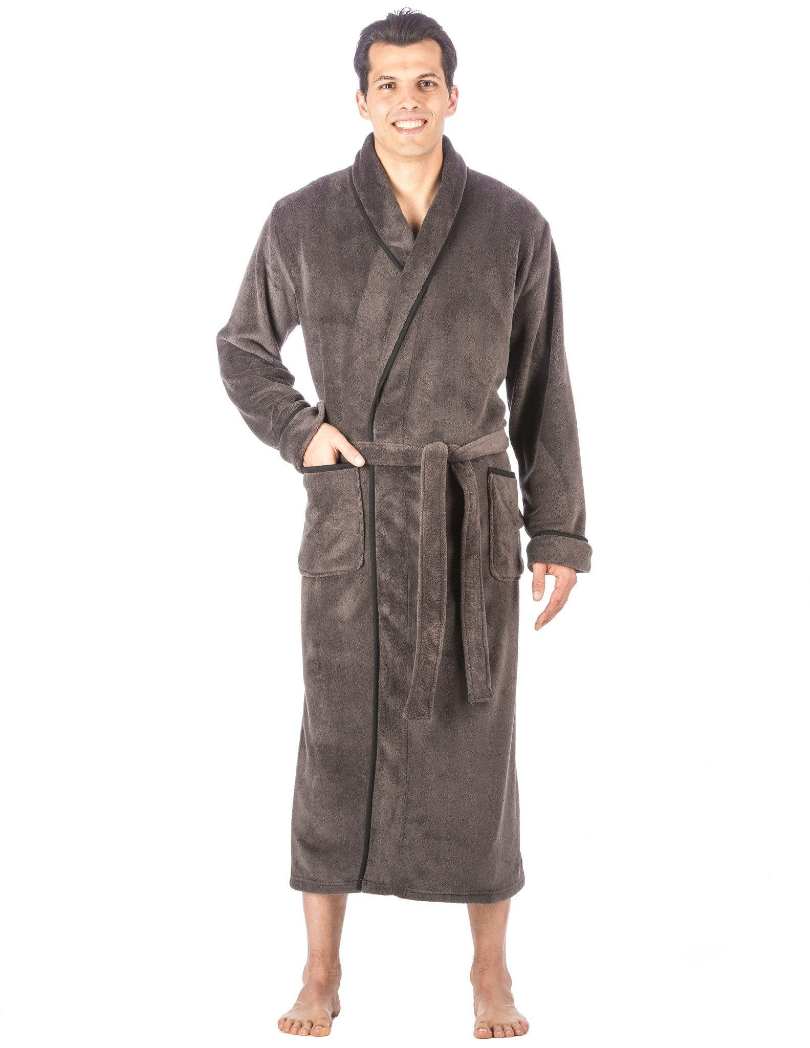 Men's Premium Coral Fleece Full Length Plush Spa/Bath Robe - Dark Grey
