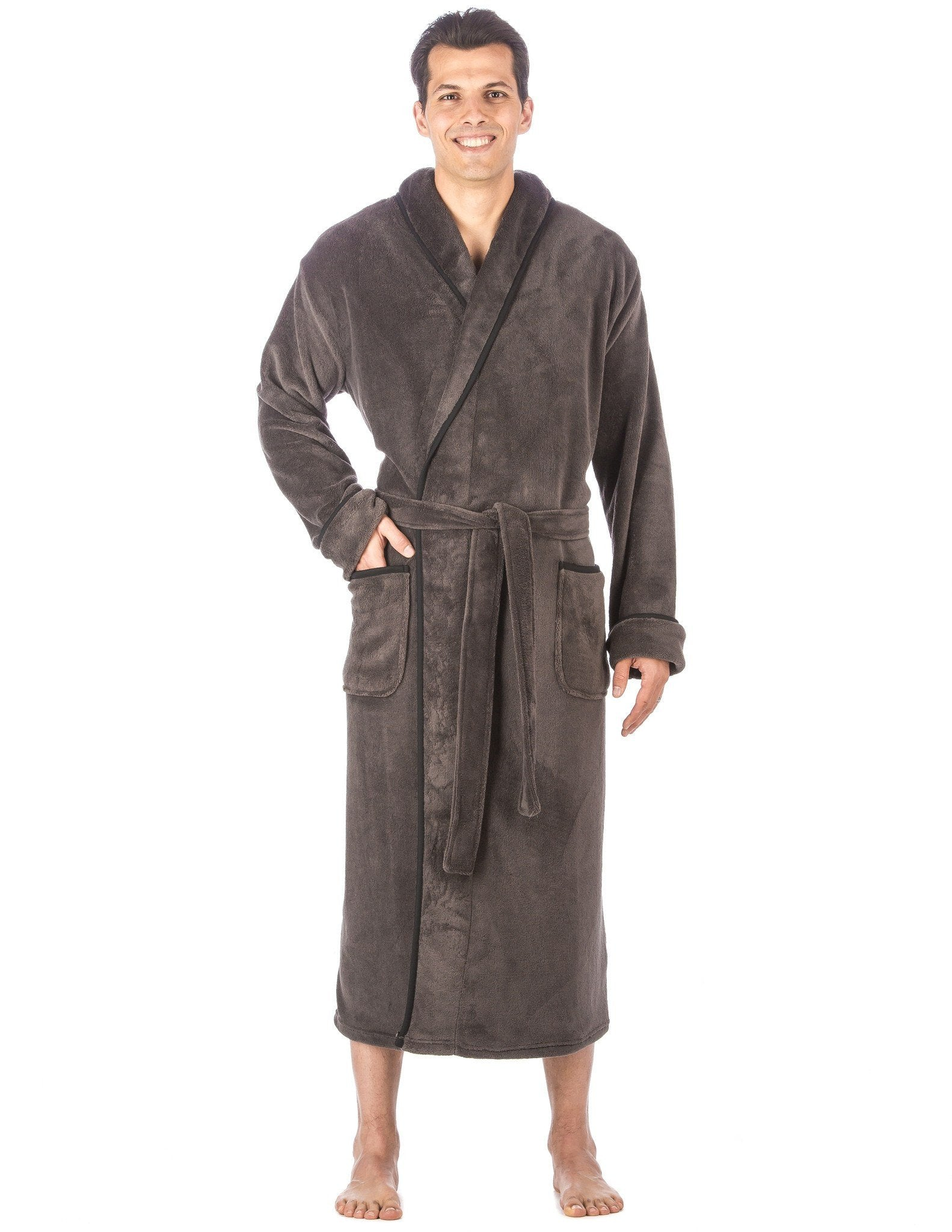 Men s Premium Coral Fleece Long Hooded Plush Spa Bath Robe - Dark Gray bb0051cca