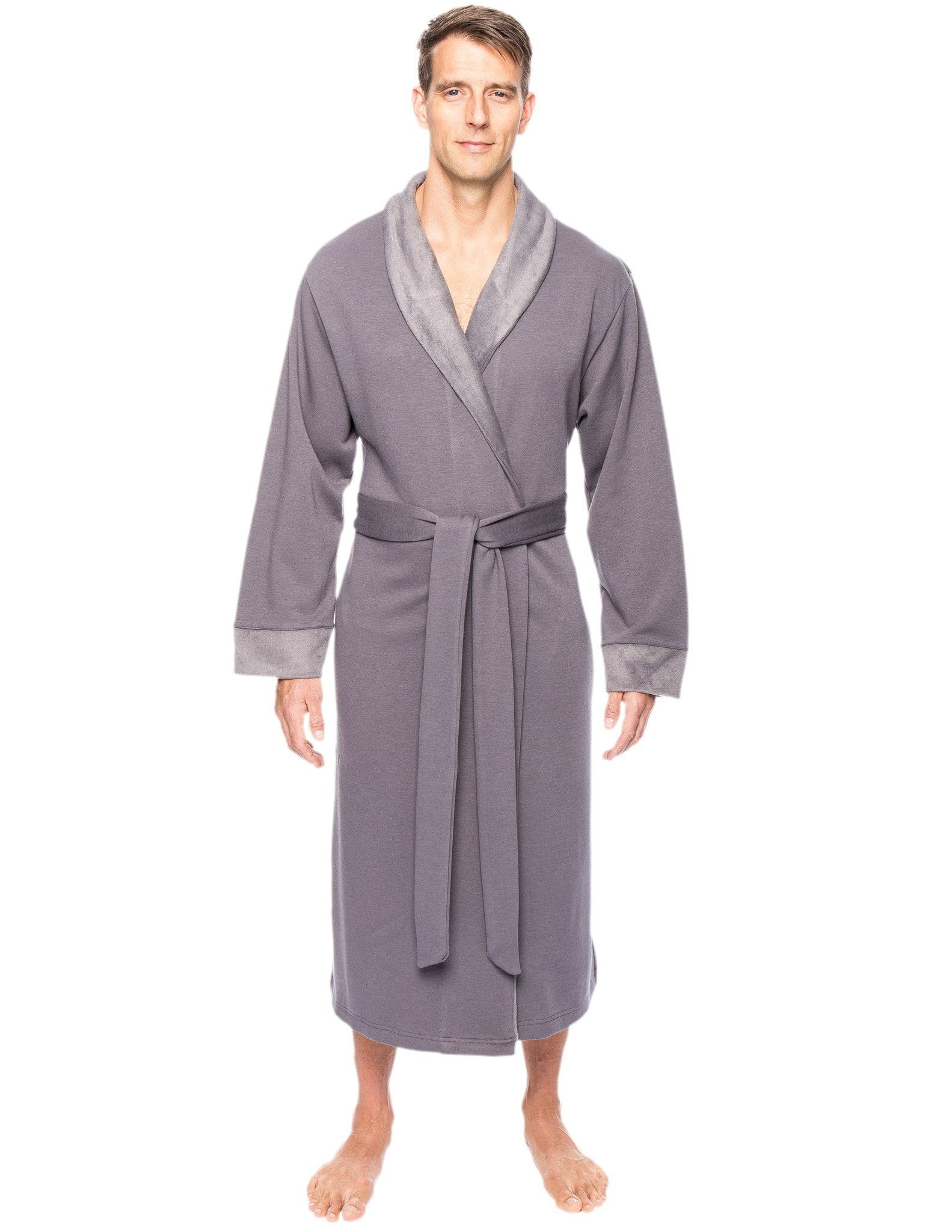 Men's Super Soft Brushed Robe - Dark Grey