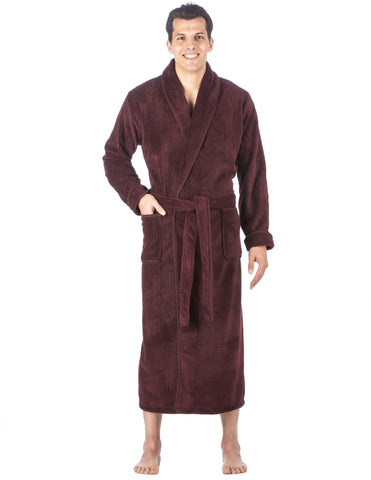 Men's Premium Coral Fleece Full Length Plush Spa/Bath Robe - Fig