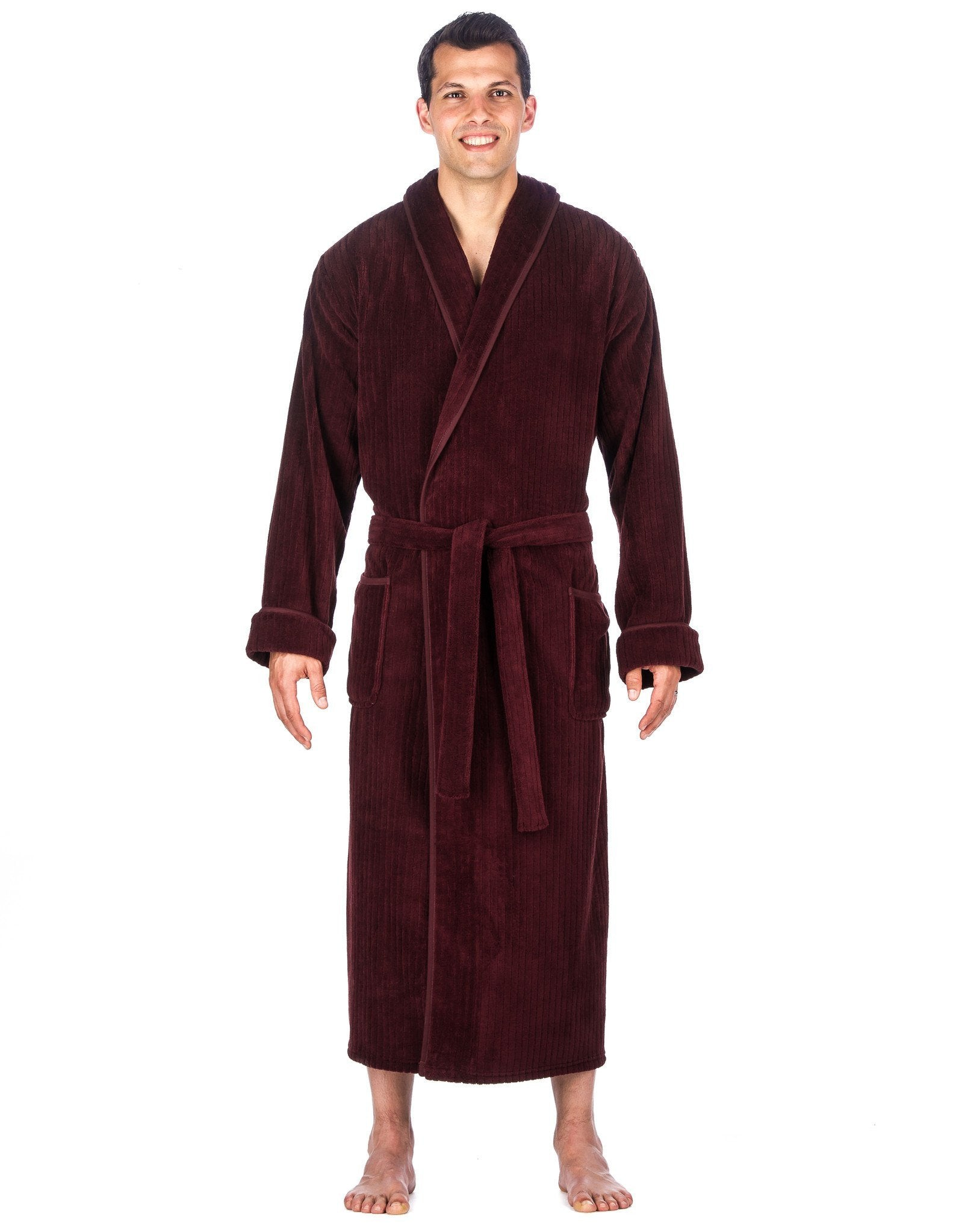 Men's Premium Coral Fleece Long Hooded Plush Spa/Bath Robe - Fig