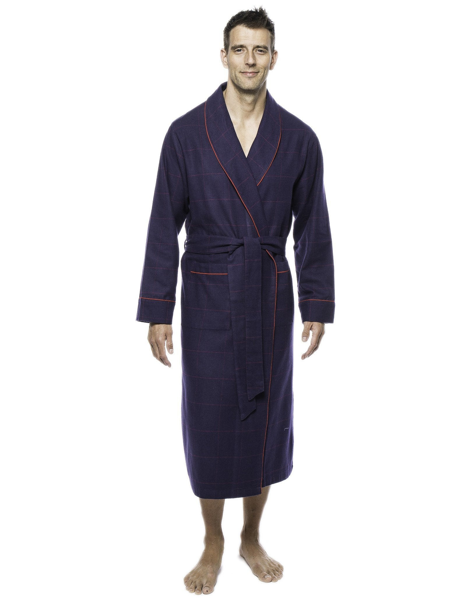 Mens Premium 100% Cotton Flannel Robe - Windowpane Checks Blue/Red
