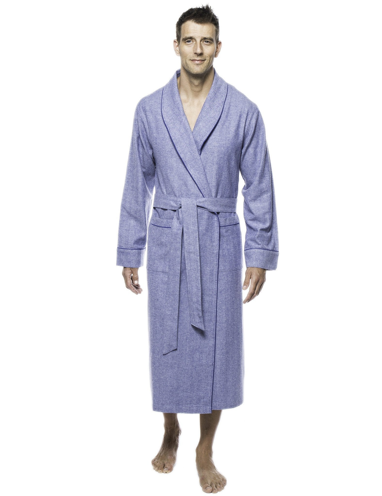 Mens Premium 100% Cotton Flannel Robe - Herringbone Blue