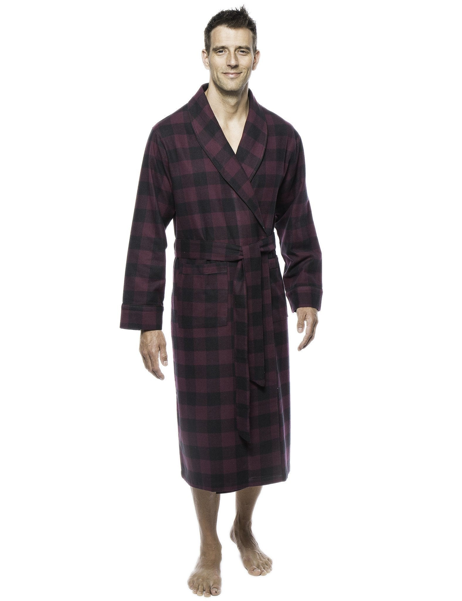 Mens Premium 100% Cotton Flannel Robe - Gingham Fig/Black