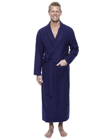 Men's 100% Cotton Flannel Long Robe - Herringbone Blue/Black
