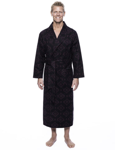 Men's 100% Cotton Thick Flannel Long Robe - Aztec Black/Fig