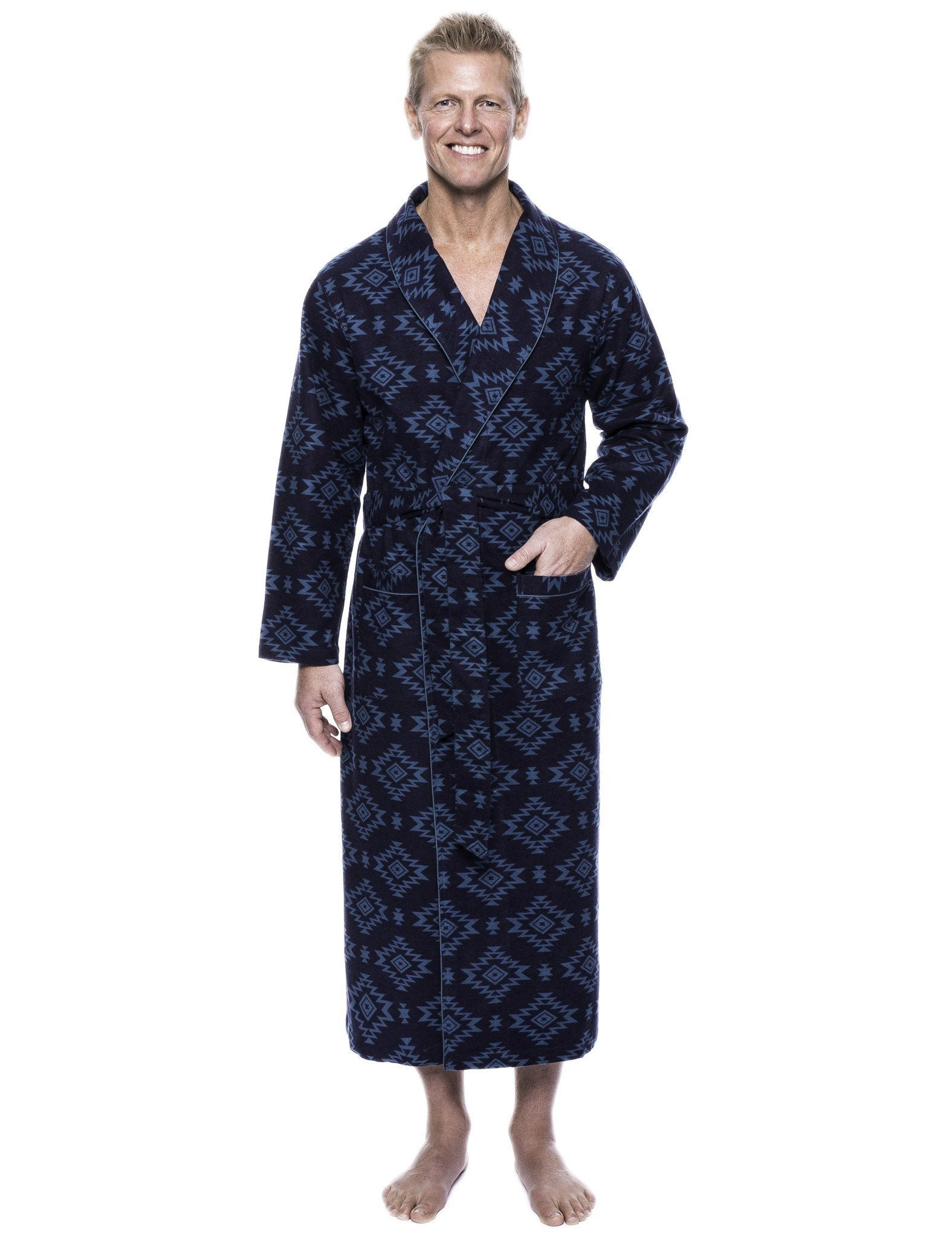 Men's 100% Cotton Thick Flannel Long Robe - Aztec Navy/Teal