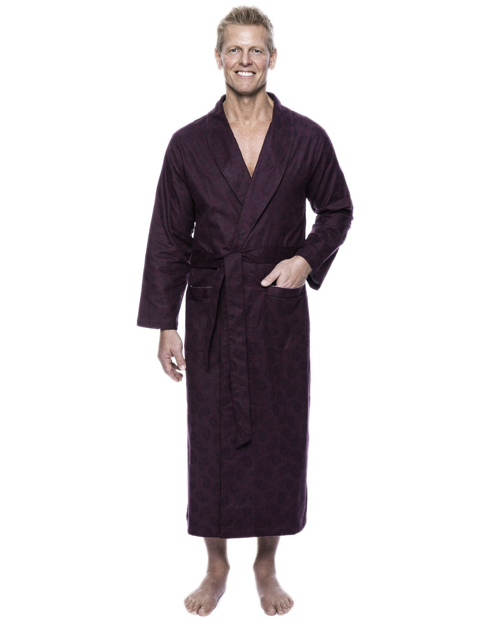 Men's 100% Cotton Thick Flannel Long Robe - Paisley Fig/Black