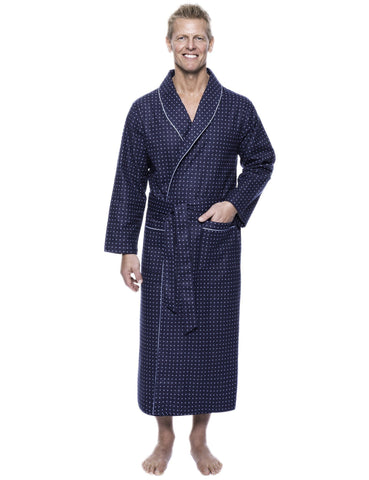 Men's 100% Cotton Thick Flannel Long Robe - Floating Squares Dark Blue
