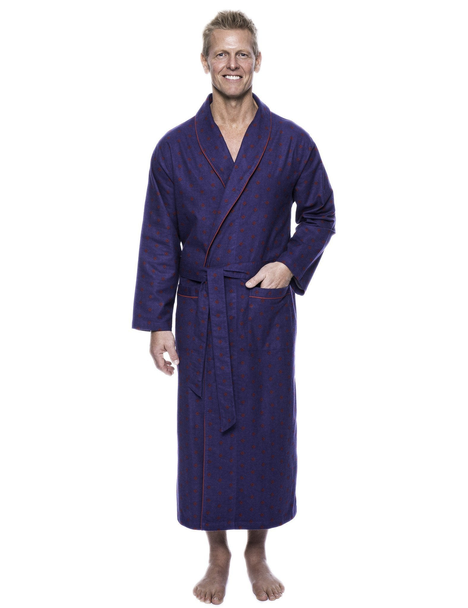 Men's 100% Cotton Thick Flannel Long Robe - Double Diamond Navy/Red
