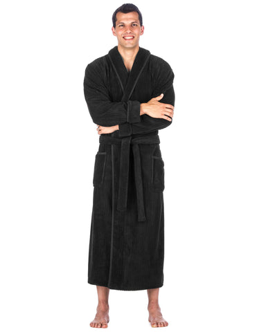 Men's Premium Coral Fleece Long Hooded Plush Spa/Bath Robe - Iron