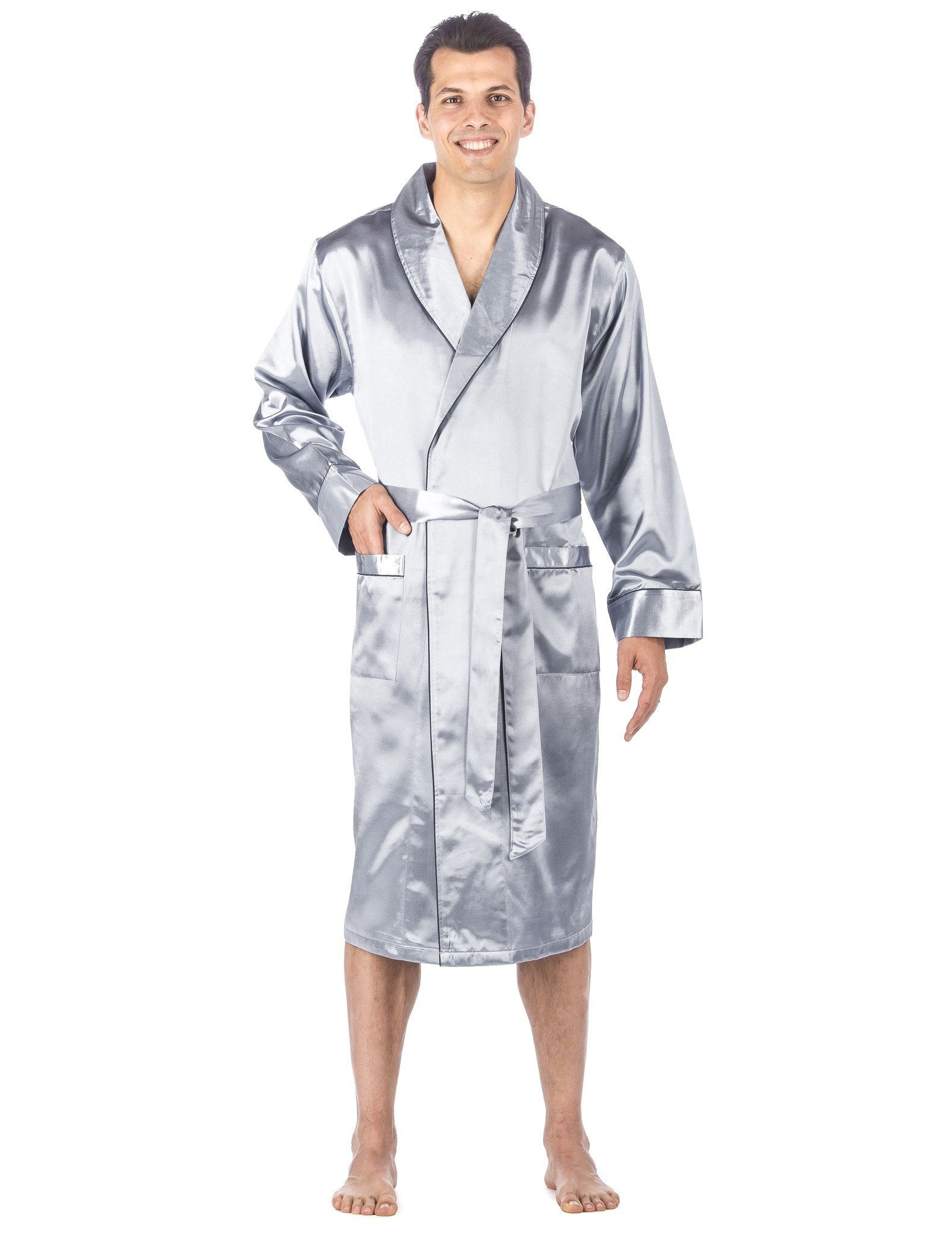 Men's Premium Satin Robe - Solid Light Blue
