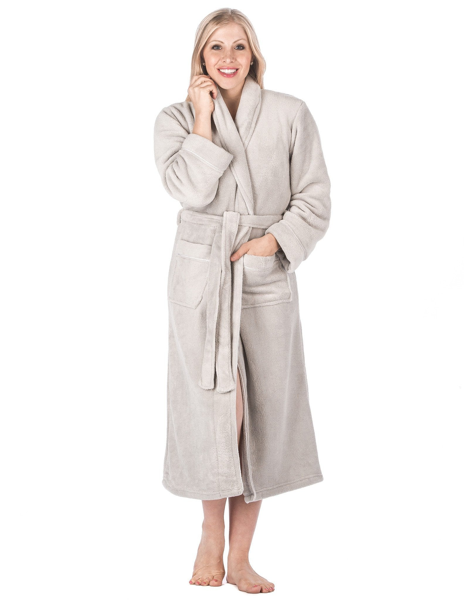 Women's Premium Coral Fleece Plush Spa/Bath Robe - Light Grey