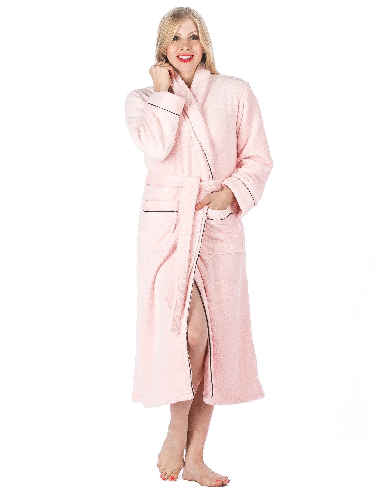 Women's Premium Coral Fleece Plush Spa/Bath Robe - Light Pink