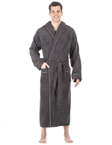 Men's 100% Cotton Terry Long Hooded Bathrobe - Dark Grey