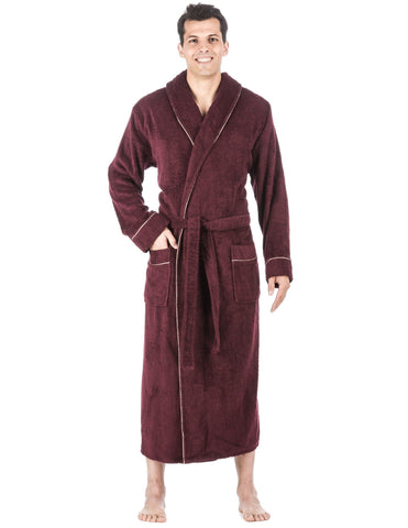 Men's 100% Cotton Terry Long Hooded Bathrobe - Fig