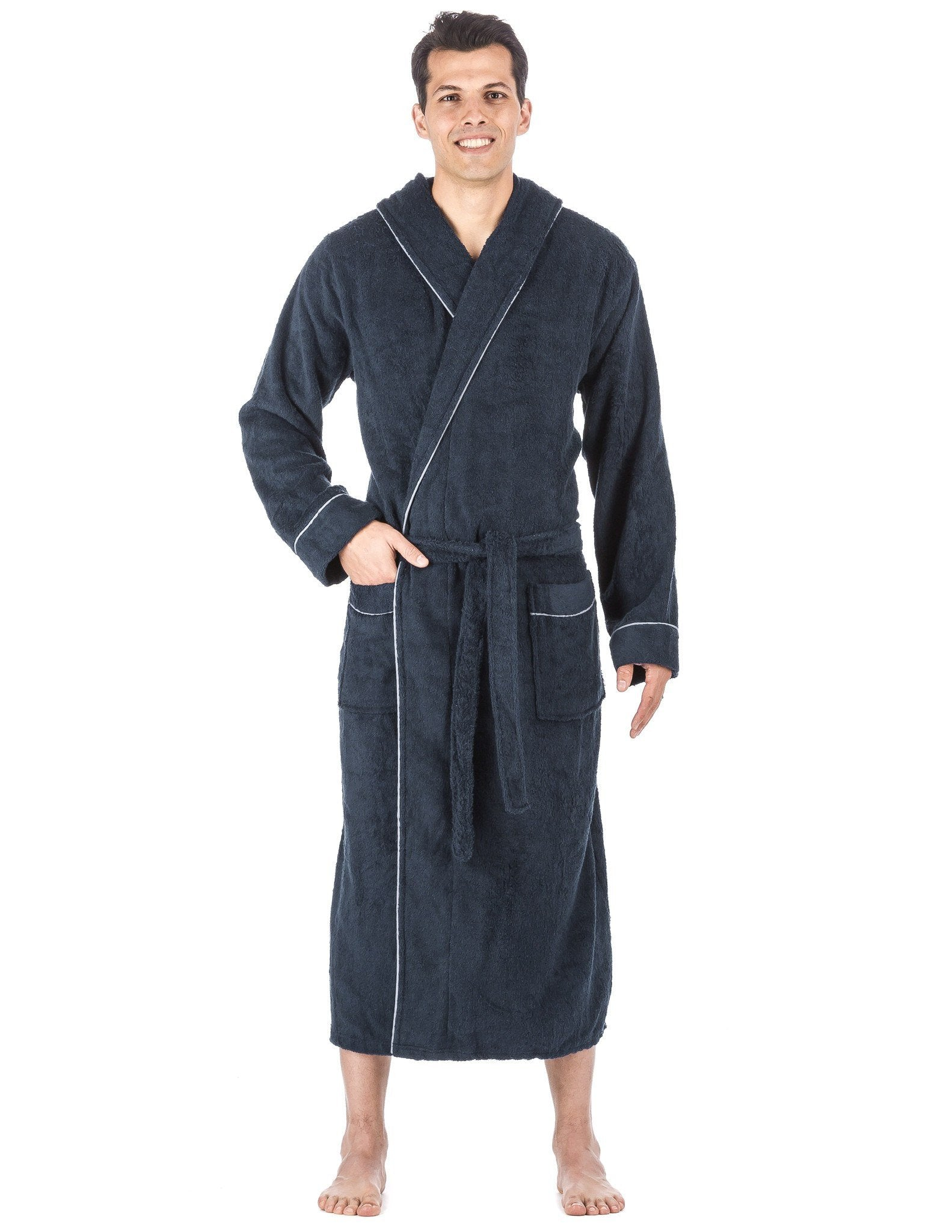 Men's 100% Cotton Terry Long Hooded Bathrobe - Dark Blue