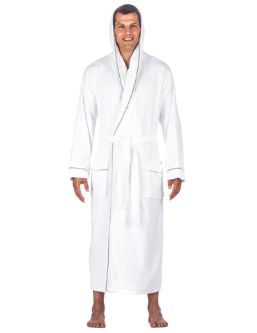 Men's 100% Cotton Terry Long Hooded Bathrobe - White