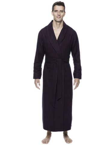 Box Packaged Men's Premium 100% Cotton Flannel Long Robe - Herringbone Fig/Black