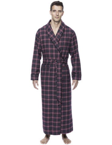 Box Packaged Men's Premium 100% Cotton Flannel Long Robe - Burgundy/Grey