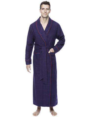 Box Packaged Men's Premium 100% Cotton Flannel Long Robe - Windowpane Checks Blue/Red