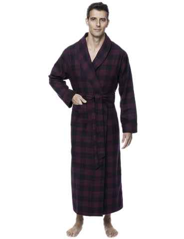 Box Packaged Men's Premium 100% Cotton Flannel Long Robe - Gingham Fig/Black