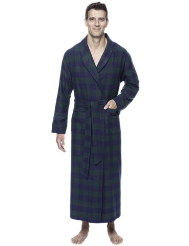 Box Packaged Men's Premium 100% Cotton Flannel Long Robe - Gingham Green/Navy