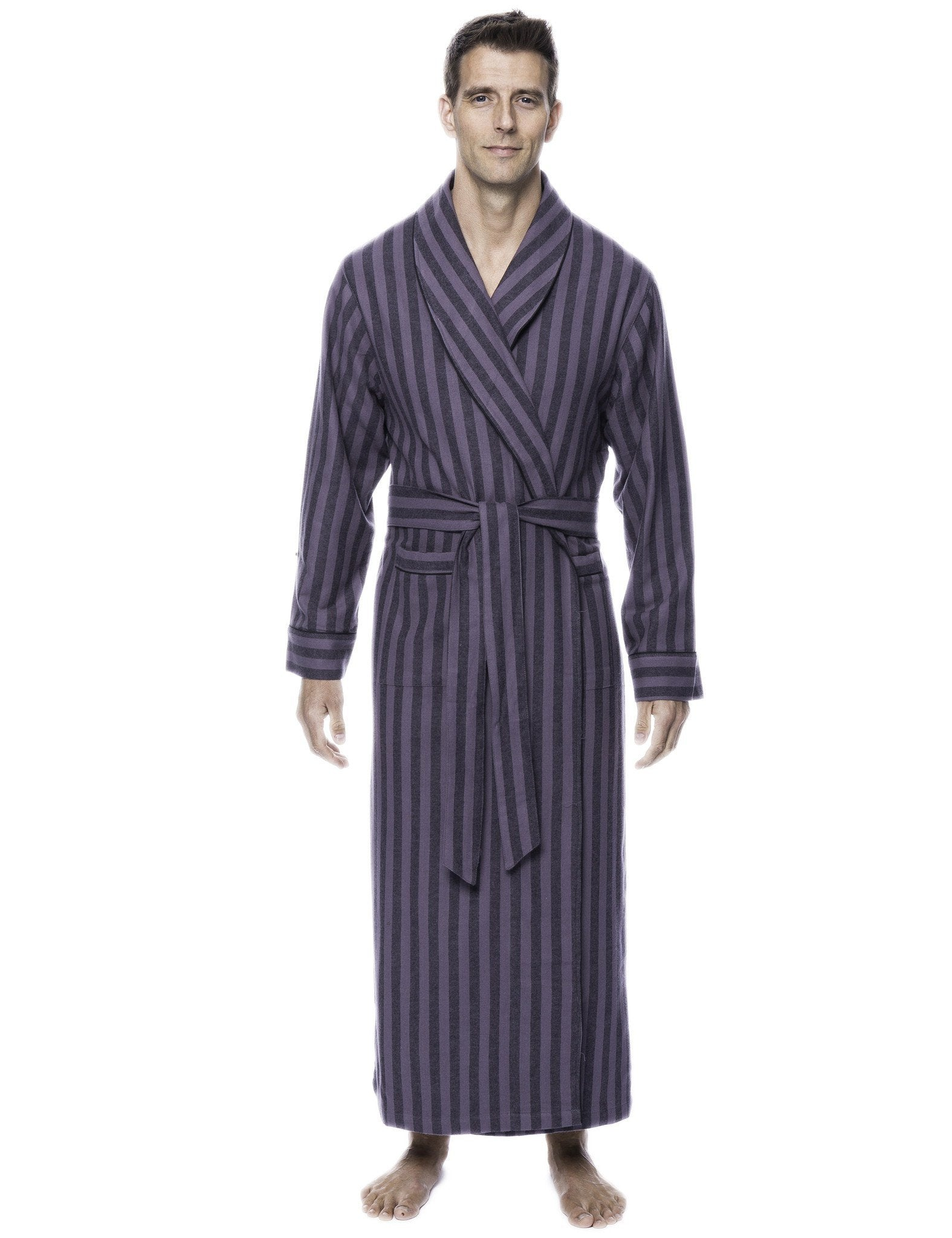 Box Packaged Men's Premium 100% Cotton Flannel Long Robe - Stripes Black/Grey