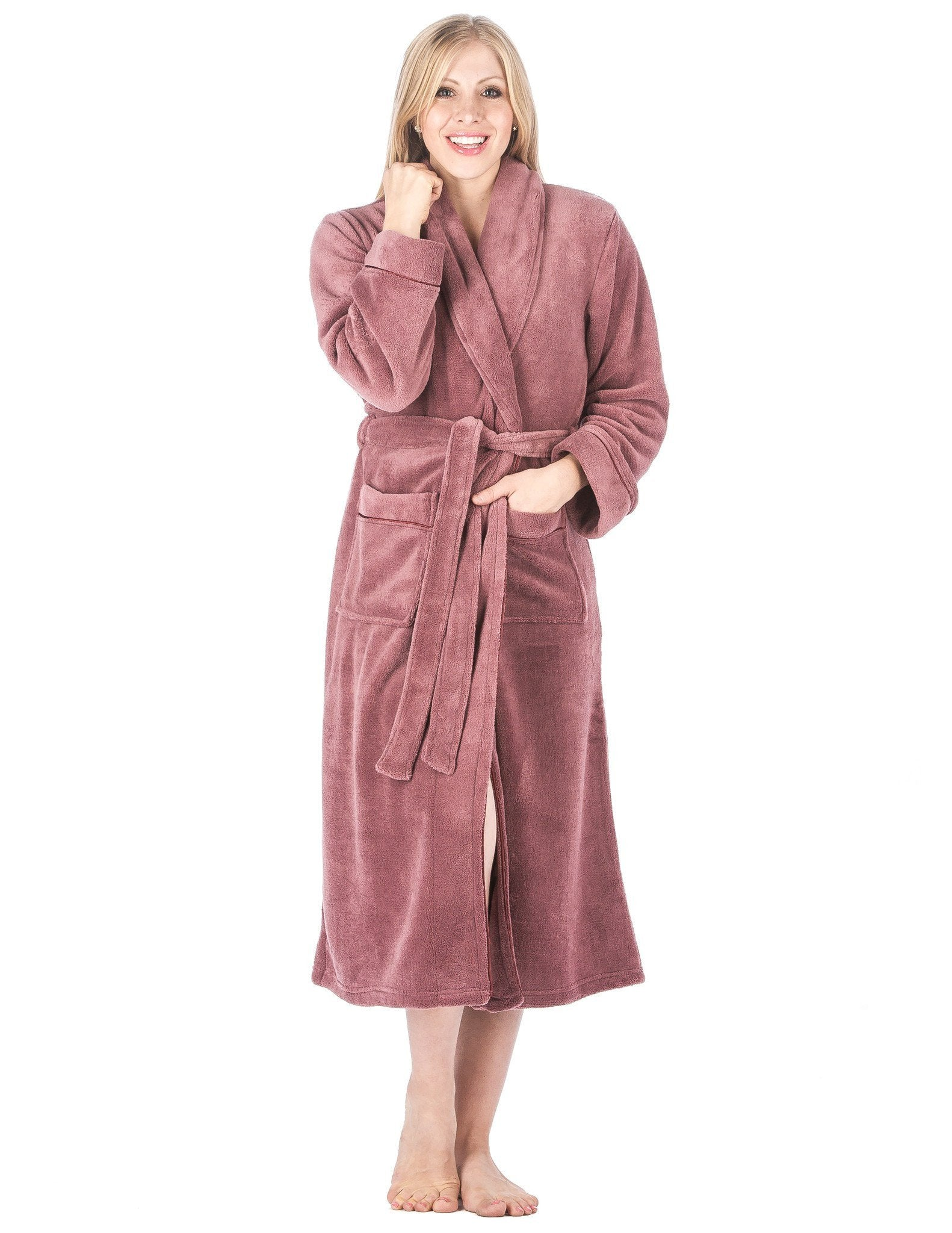 Women's Premium Coral Fleece Plush Spa/Bath Robe - Mauve