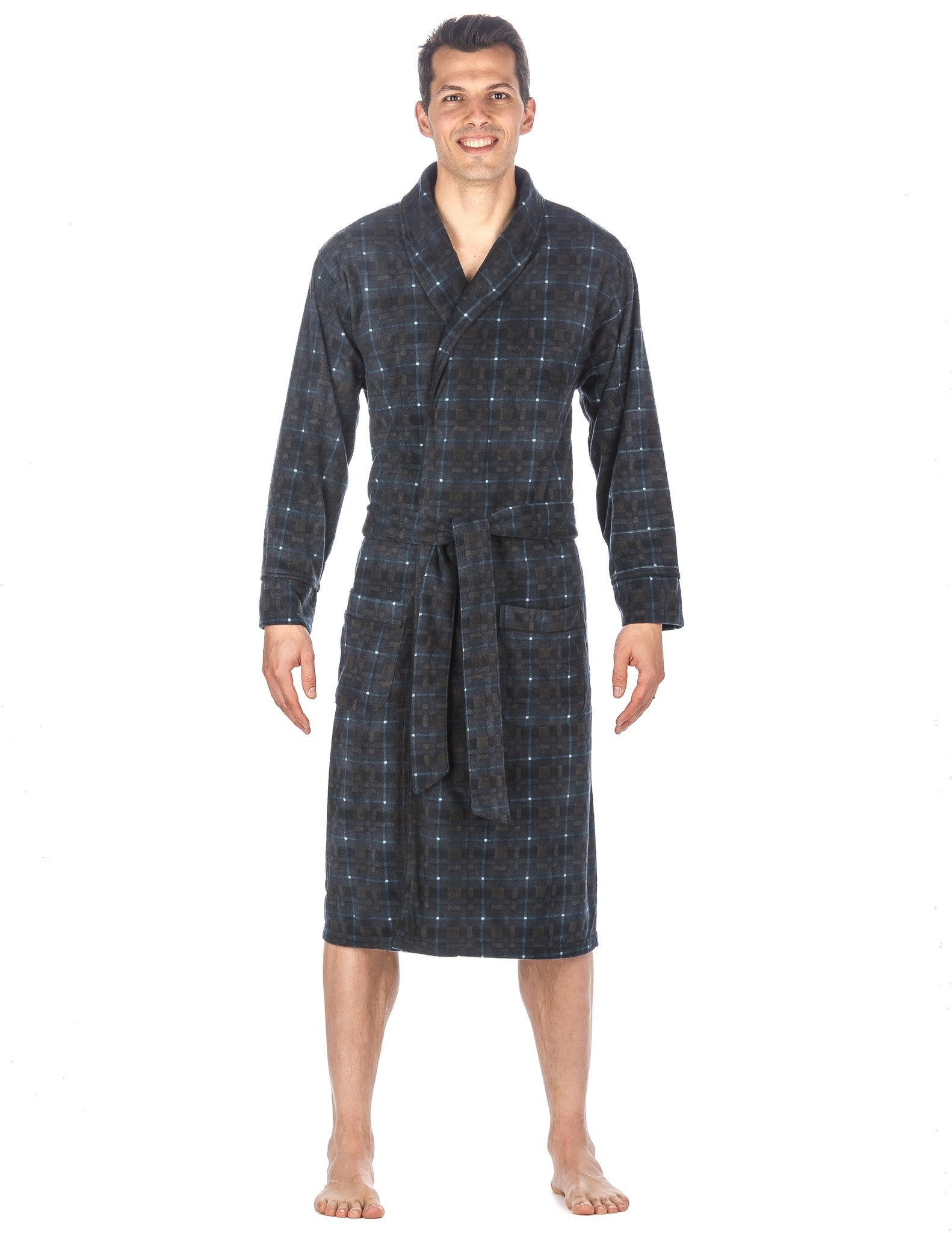 Men's Microfleece Robe - Plaid Blue