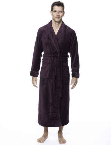 Men's Premium Coral Fleece Full Length Plush Spa/Bath Robe - Marl Fig/Black