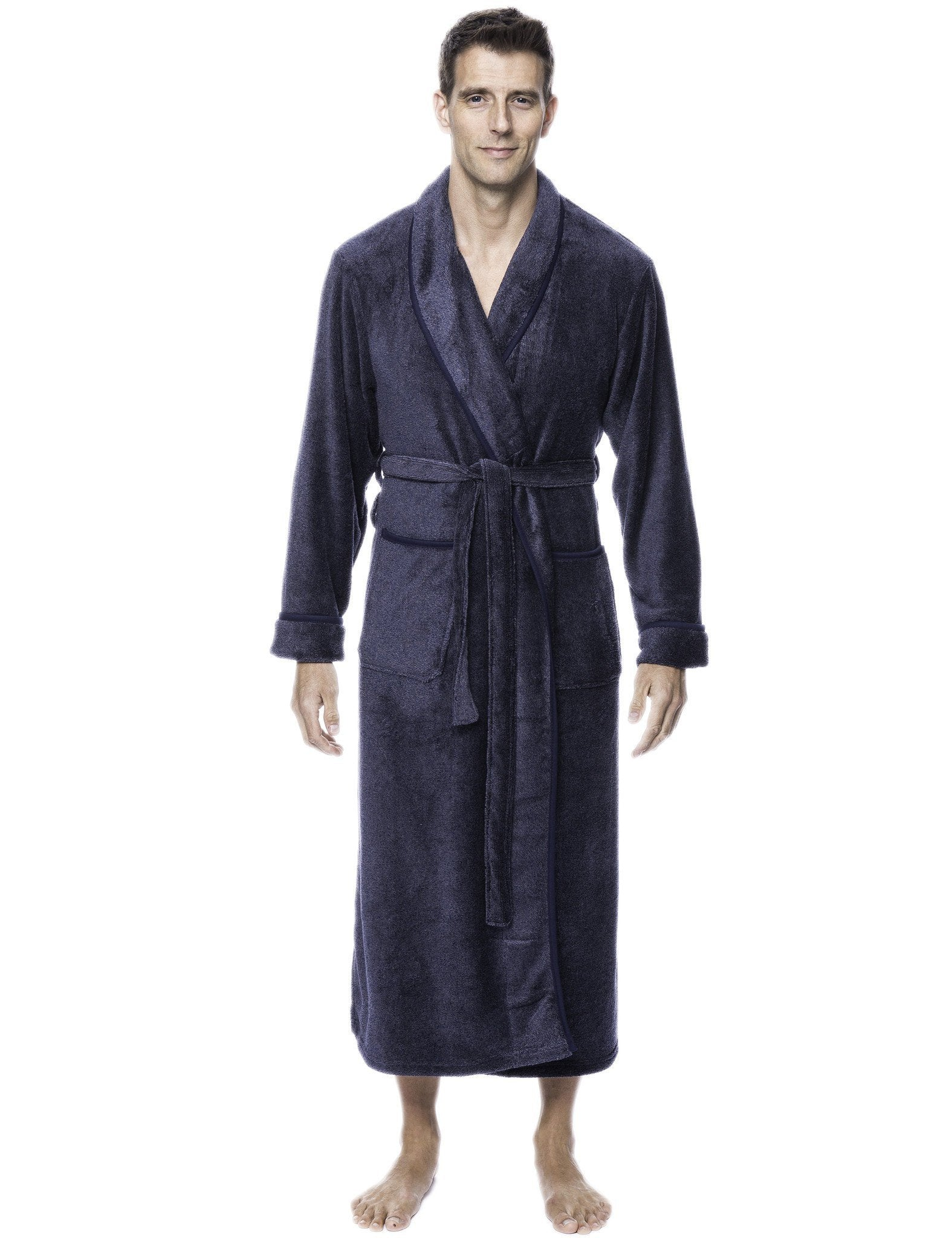 Men's Premium Coral Fleece Full Length Plush Spa/Bath Robe - Marl Navy/Grey