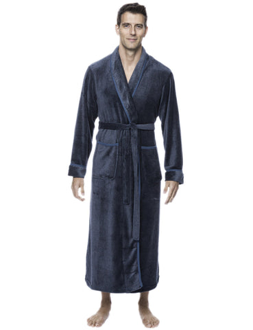 Men's Premium Coral Fleece Full Length Plush Spa/Bath Robe - Marl Teal/Grey