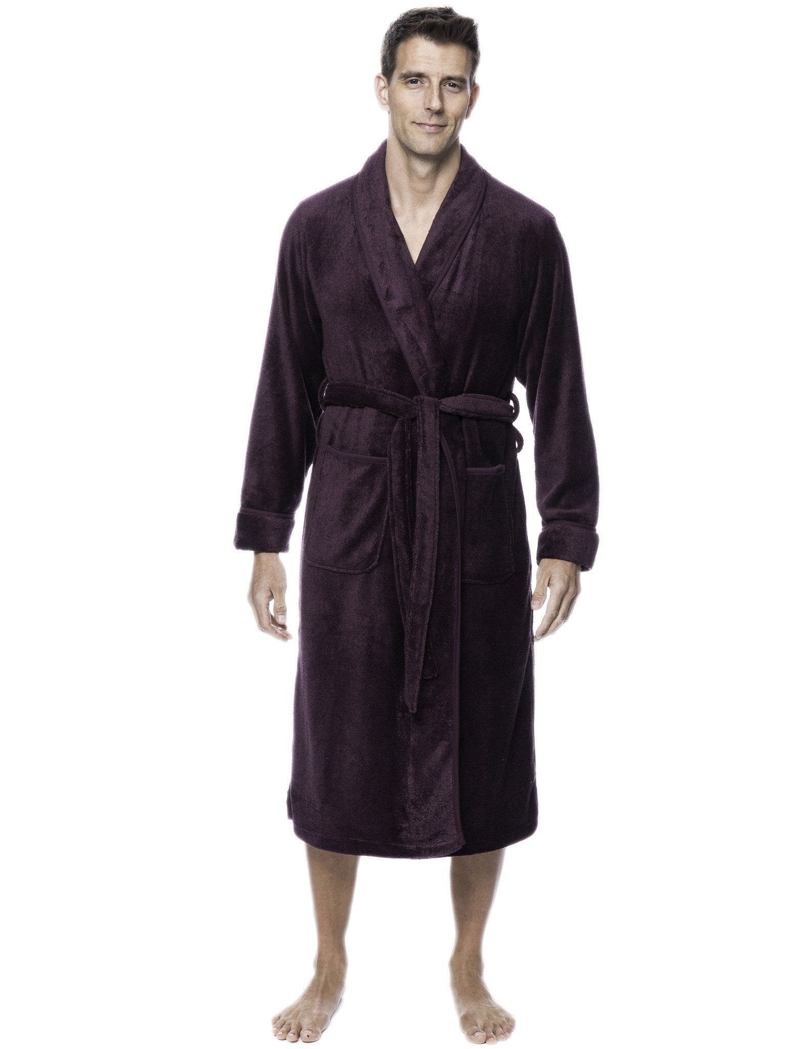 Men's Premium Coral Fleece Plush Spa/Bath Robe - Marl Fig/Black