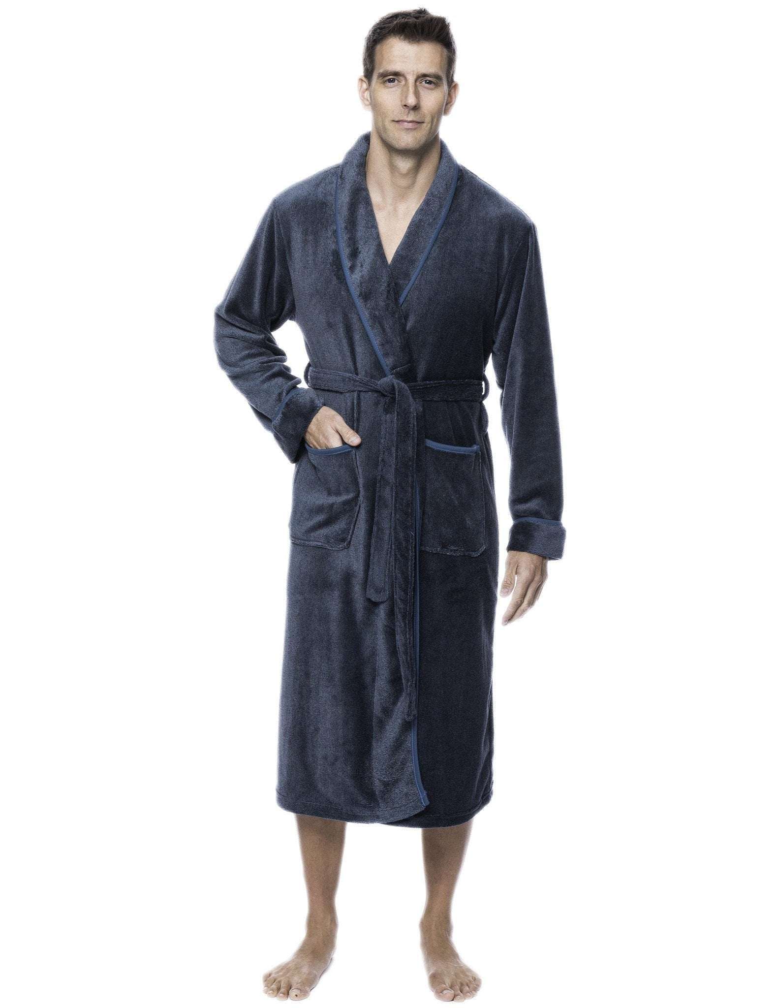 Men's Premium Coral Fleece Plush Spa/Bath Robe - Marl Teal/Grey