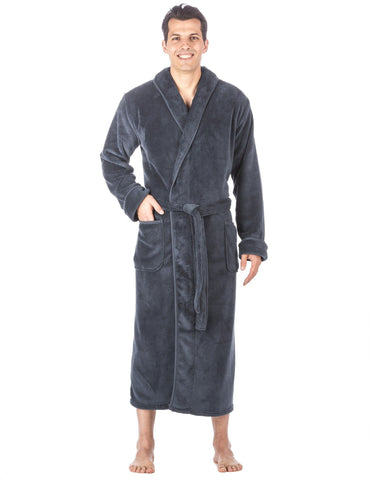 Men's Premium Coral Fleece Long Hooded Plush Spa/Bath Robe - Navy