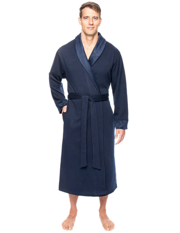 Men's Super Soft Brushed Robe - Navy
