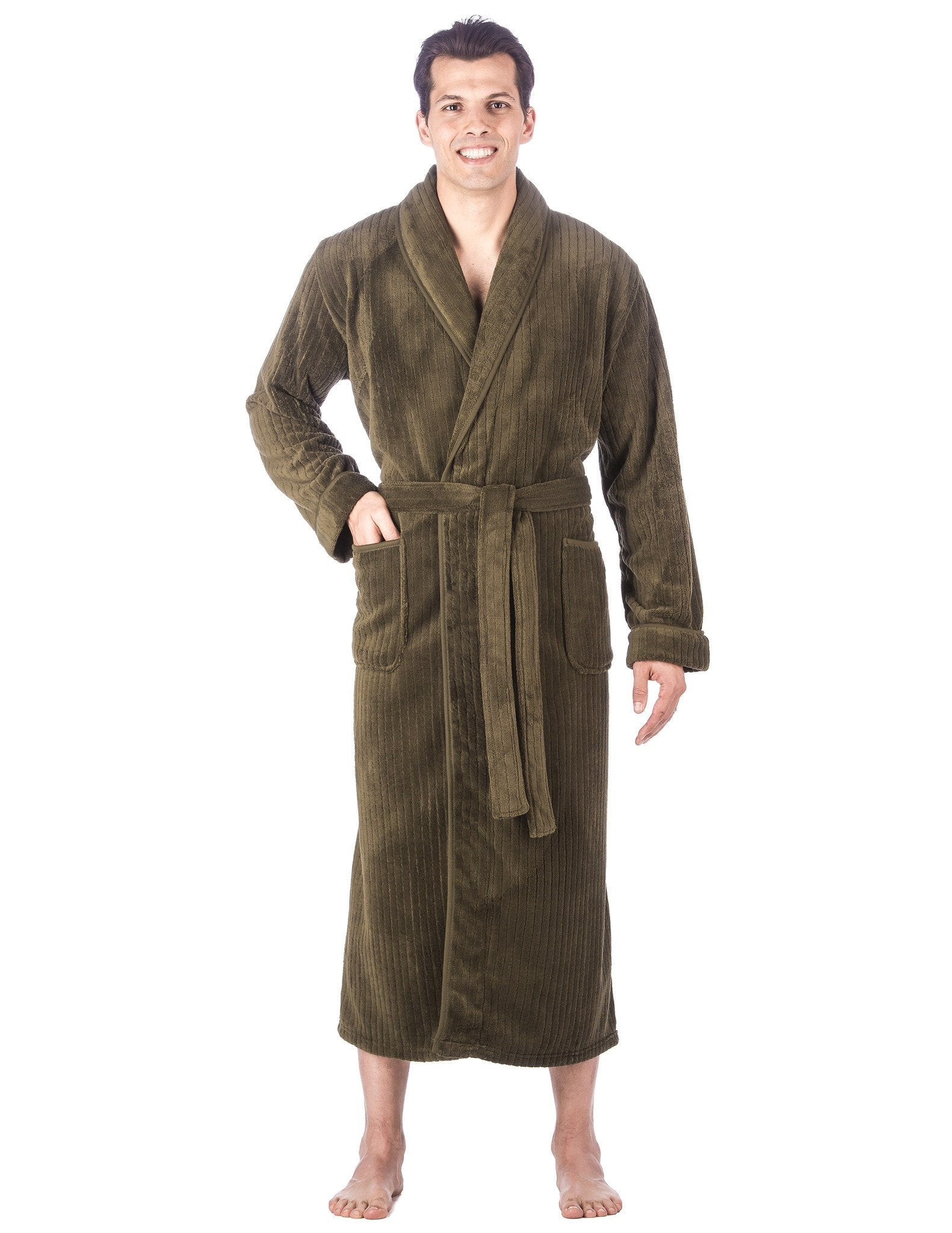 Men's Premium Coral Fleece Full Length Plush Spa/Bath Robe - Olive