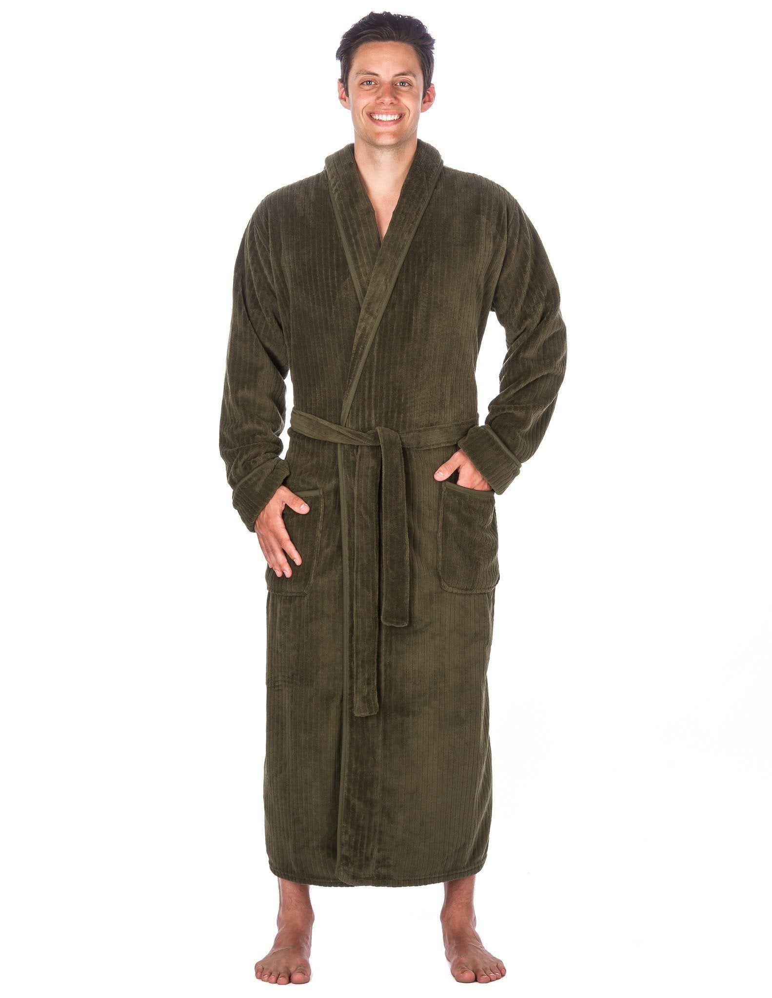 Men's Premium Coral Fleece Long Hooded Plush Spa/Bath Robe - Olive