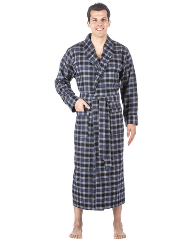 Box Packaged Men's Premium 100% Cotton Flannel Long Robe - Blue/Black