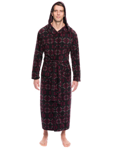 Men's Microfleece Hooded Robe - Aztec Black/Fig