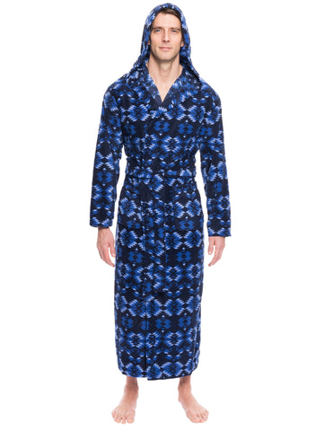 Men's Microfleece Hooded Robe - Aztec Navy/Blue