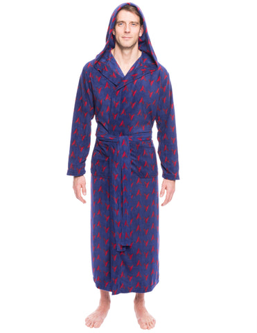 Men's Microfleece Hooded Robe - Arrows Navy/Red
