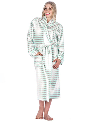 Women's Double Layer Knit Jersey Robe - Stripes - White